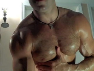 Leather Cumming muscle stud! / 74