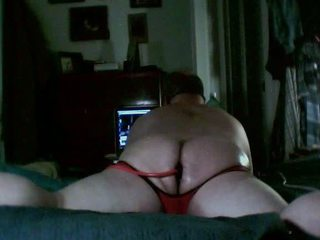 bear in red assless shorts with inflatable plug / 64