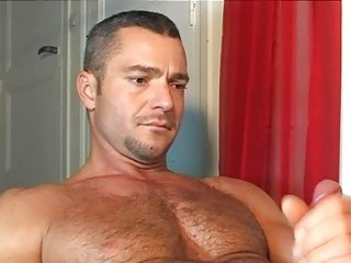 Hung handsome bear got a nice handjob from his lover / 222